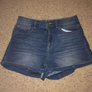 Refuge high waisted dark wash denim shorts